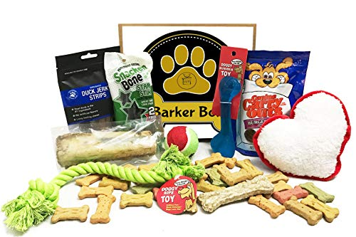 Dog Gift Box Basket for Favorite Canine Fur Baby Perfect for Dog Lover, Christmas, Birthday, New Dog Furry Pet Friend Prime Treats Toys (Barker Box)