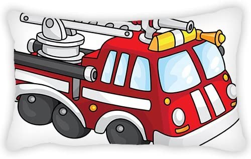 ElijahToby Polyester Pillow Cover Cartoon Fire Truck Bolster Throw Pillow Case Cushion Cover for Kids Bedroom Couch Sofa Home Decorative 12x20 Inches