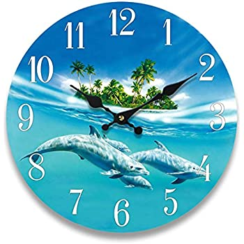 Dolphin Glass Wall Clock New 13