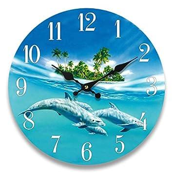 Dolphin Glass Wall Clock New 13 X 13 Home Wall Decor Coastal Nautical Beach