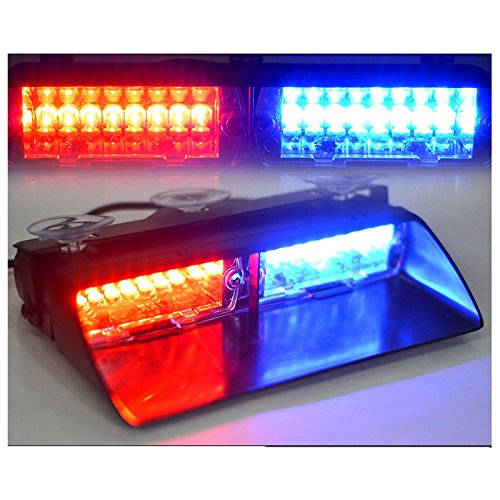 WINOMO Car Flash Strobe Light 16 LED Law Enforcement Emergency Hazard Warning Flashing Lights with Suction Cupsfor Truck SUV Boat Marine(Red/Blue)