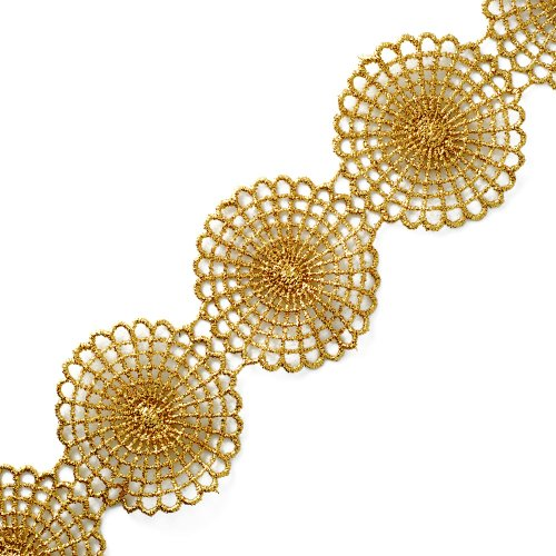 3-Yards Metallic Lace Trim for Bridal, Costume or Jewelry, Crafts and Sewing, 2 Inch, LP-MX-3282 (Gold)