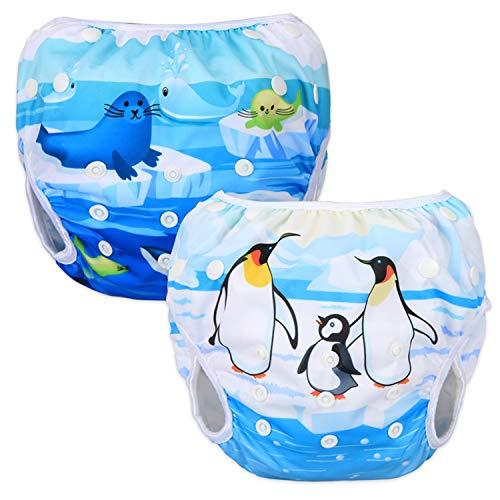 LUXJA Reusable Swim Diaper (Pack of 2), Adjustable Swimming Diaper for Baby (0-3 Years) (Penguin + Sea Animals)