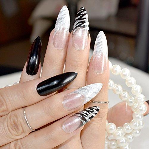 24 uñas postizas de Stiletto, color blanco, transparentes, con purpurina acrílica, diseño de cebra: Amazon.es: Belleza