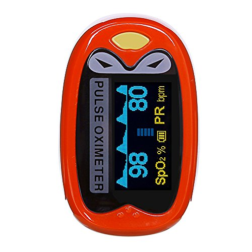 Children Pulse Oximeter Fingertip Pediatric Oxygen Saturation Monitor for Kids Babies Lithium Battery Yonker K1 - Red