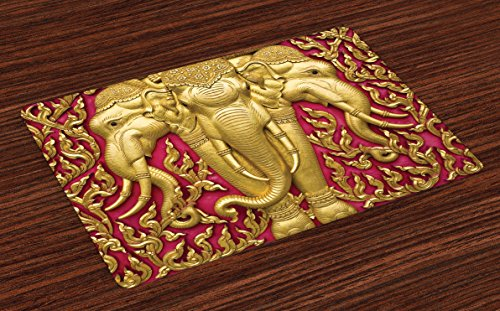 Mother Son Statue (Elephant Place Mats Set of 4 by Ambesonne, Elephant Carved Gold Paint on Door Thai Temple Spirituality Statue Classic Art, Washable Placemats for Dining Room Kitchen Table Decoration, Gold Pink)
