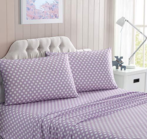 Kute Kids Super Soft Sheet Set - Polka Dot Brushed Microfiber for Extra Comfort (Lilac, Queen)