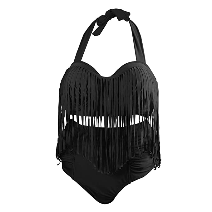 Bikini Talla Grande Traje de Baño Bañador Mujer de Dos Piezas - Ropa de baño con Talle Alto (XL, Negro)