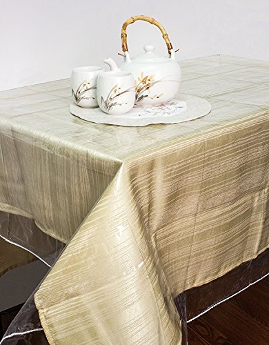 Kashi Home Clear Vinyl Tablecloth Protector, Durable Double Stitched Edges Dining Tablecloth Cover (60