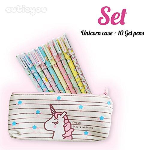 Set 10 pcs Unicorn Flamingo Gel Ink Pens + Plus Unicorn Pencil case, fine point (0.5mm) pen – Unicorn school supplies for girls, Best gift for girls, pen set – By Cutieyou (Pen Girl)