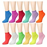 12 Pairs Women's Socks Assorted Colors Size 9-11 Solid Mix Color 62B