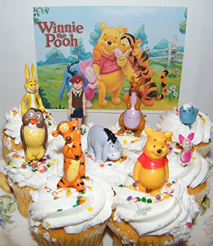 Disney Winnie the Pooh Deluxe Mini Cake Toppers Cupcake Decorations Set of 9 Figures with the Pooh, Tigger, Owl, Chistopher Robin and More! -