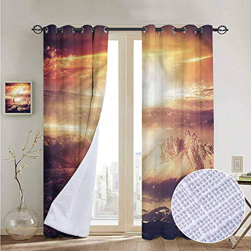 20' Mobile Traveler - NUOMANAN Kitchen Curtains Adventure,Traveler Woman Sunset,Rod Pocket Drapes Thermal Insulated Panels Home décor 84