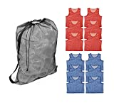 Get Out! Teen/Adult Mesh Sports Scrimmage Vest Jersey Pinnies (12) & Drawstring Bag (1) – Soccer, Basketball, Football