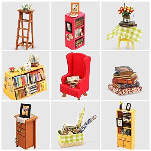 ROBOTIME Dollhouse Kit Miniature DIY Library House Kits Best