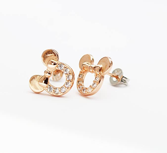 Findout rose gold plated sterling silver Cubic Zircons white crystal hollow Mickey Mouse earrings .for women girls (f1784) 61s9zkU5