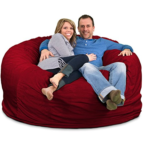 ULTIMATE SACK Bean Bag Chairs in Multiple Sizes and Colors: Giant Foam-Filled Furniture - Machine Washable Covers, Double Stitched Seams, Durable Inner Liner. (6000, Burgundy Suede) 2 Seat Burgundy Leather Theater