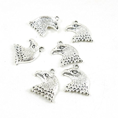 5 Pieces Antique Silver Tone Jewelry Making Supply Charms Filigrees Arts Crafts Beading Findings Crafting F8ZR2Y Eagle Hawk Head