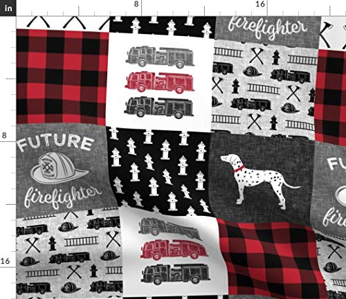 Spoonflower Firefighter Quilt Panel Fabric - Quilt Firefighter Truck Fire Engine Plaid Patchwork Baby Boy Whole Cloth Panel by Littlearrowdesign Printed on Fleece Fabric by The Yard