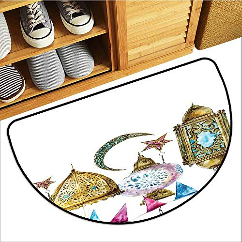 TableCovers&Home Absorbent Door Mat, Lantern Indoor Doormats for Office, Arabic Lanterns with Star and Moon Shapes Original Oriental Illustration (Gold Pink Blue, H20 x D32 Semicircle)