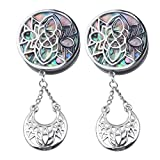 Ear gauges Ear Plugs Dangle Silver Stainless Steel Stencil Face Abalone W/Crescent (10MM-00 GAUGE)