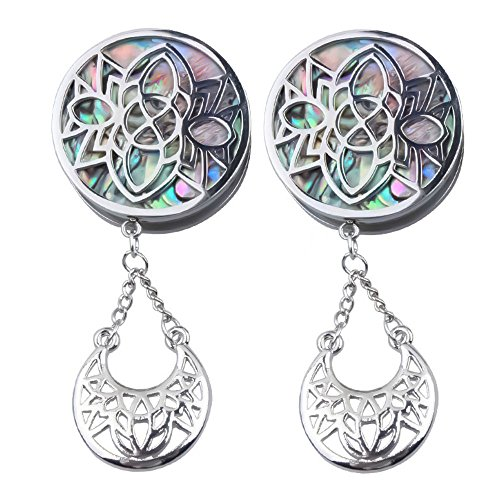 Ear gauges Ear Plugs Dangle Silver Stainless Steel Stencil Face Abalone W/Crescent (22MM-7/8 INCH) by soscene