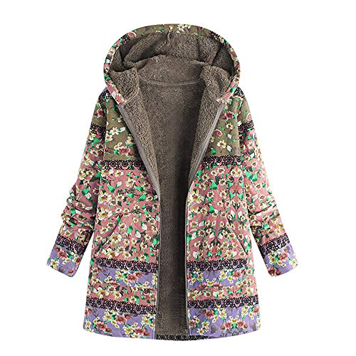 XOWRTE Women's Plus Size Vintage Fleece Zipper Winter Thick Hooded Jacket Overcoat Outwear ()