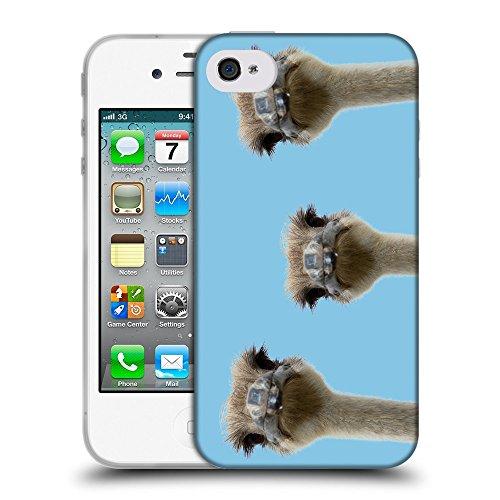 GoGoMobile Coque de Protection TPU Silicone Case pour // Q05530609 3 autruches Bambina blu // Apple iPhone 4 4S 4G