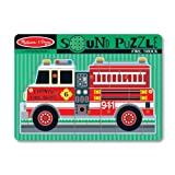 Melissa & Doug Fire Truck Sound Puzzle - Wooden Peg Puzzle With Sound Effects (9 pcs)