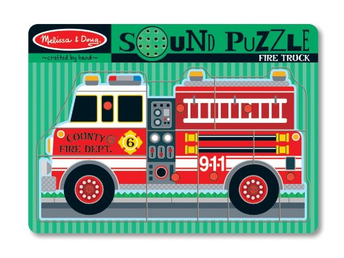 Melissa & Doug Fire Truck Sound Puzzle - Wooden Peg Puzzle With Sound Effects (9 pcs)