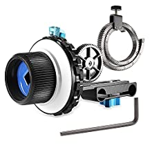 Neewer A-B Stop Follow Focus C2 with Gear Ring Belt for DSLR Cameras Such as Nikon,Canon,Sony DV/Camcorder/Film/Video Cameras,Fits 15mm Rod Mounts,Shoulder Supports