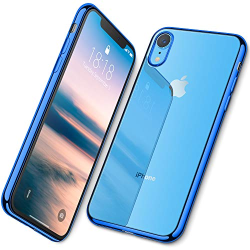 DTTO iPhone XR Case, Slim Fit Case Soft TPU Clear Cover with Metal Luster Edge for Apple iPhone XR 6.1 Inch- Blue