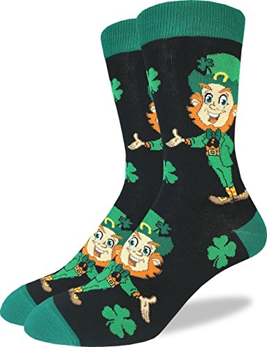 Good Luck Sock Men's St. Patricks Day Leprechaun Socks - Green, Shoe Size -