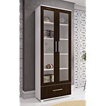 Manhattan Comfort Serra 1.0 Bookcase Collection Modern 5 Shelf Bookcase Display Case with 2 Glass Doors and 1 Bottom Drawer, White/Tobacco