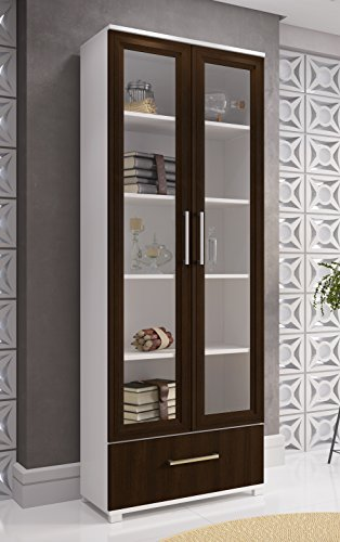 Display Shelves For Collectibles >> Manhattan Comfort Serra 1.0 Bookcase Collection Modern 5 Shelf Bookcase Display Case with 2 ...