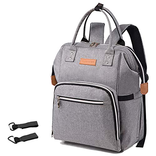 Diaper Bag?CHC Multifunction Travel Back Pack Nappy Bags for Baby Care?Lightweight Nappy Backpack Nappy Tote for Women Men?Large Capacity, Waterproof Insulated Pockets?Gray