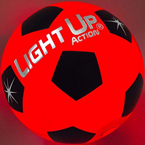 Light Up Soccer Ball Silver Edition LED LIT by Light Up Action Traditional Size 5 SESB-LED-02