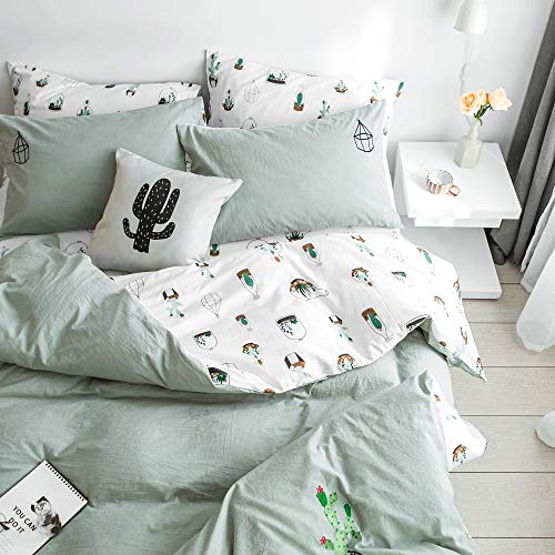 MKXI Washed Cotton Embroideried Cactus Duvet Covers Reversible Tropical Queen Bedding Set Sage Green Botanical Bed Set -