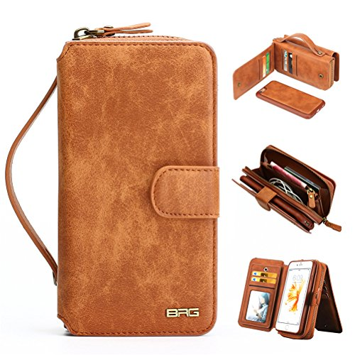Zipper Strap Detachable (iPhone 6 Case, 2 in 1 [Magnetic Detachable] iPhone 6S Wallet PU Leather Mirror Case Protective Flip Folio Cover Zipper Purse Clutch with [11 Card Holders] for iPhone 6 / 6S 4.7 inches - Brown)