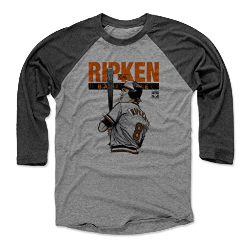 - 500 LEVEL Cal Ripken Jr. Baseball Tee Shirt (Small, Black/Heather Gray) - Baltimore Orioles Raglan Tee - Cal Ripken Jr. Batters Box Baltimore