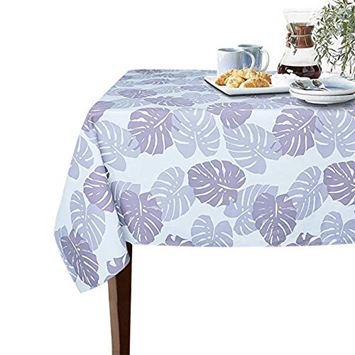 Sobibo 100% Cotton Canvas Printed Fabric Heavyweight Wrinkle Free Tablecloth 60-Inch-by-84 Rectangle, Leaves, Seats 6 to 8 ()