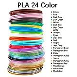 3D Pen Filament Refills, MKOEM 3D Printing Pen Filament PLA 1.75mm 24 Different colors Pack in 10 Feet Lengths- 240 Linear Feet