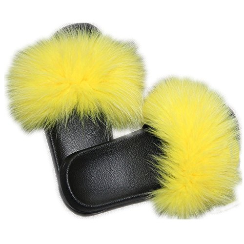 Women Real Fox Fur Feather Vegan Leather Open Toe Single Strap Slip On Sandals Multicolor (11, Yellow)