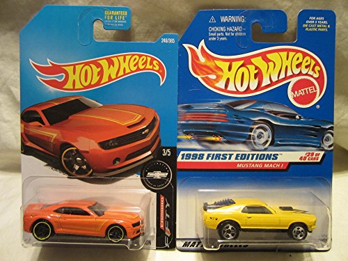 Hot Wheels 1998 First Editions Mustang Mach-1 & 2013 Chevy Camaro Special Edition Die Cast 1/64 Scale 2 Car Bundle! (2013 Camaro Hot Wheels Edition For Sale)