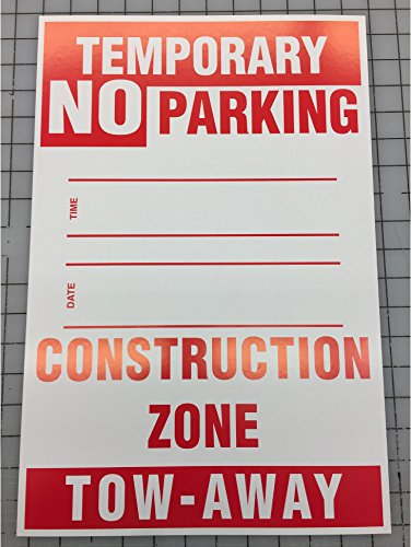 TEMPORARY NO PARKING CONSTRUCTION ZONE SIGN (5 PACK) (Construction Signs Temporary)