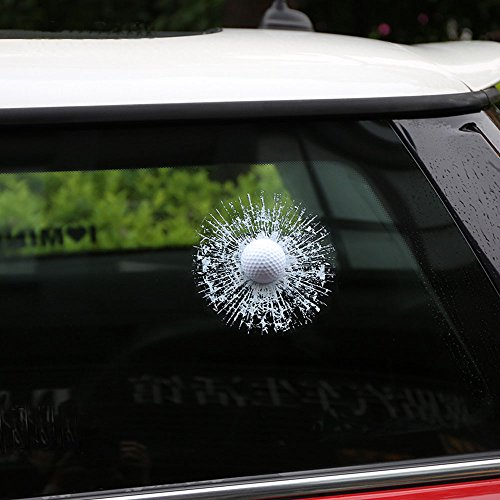 Funny Car Body (ZLTFashion 3D Prank Tricky Creative Glass Window Stickers Funny Auto Car Styling Ball Hits Car Body Window Sticker Self Adhesive Decal Accessories (White Golf))