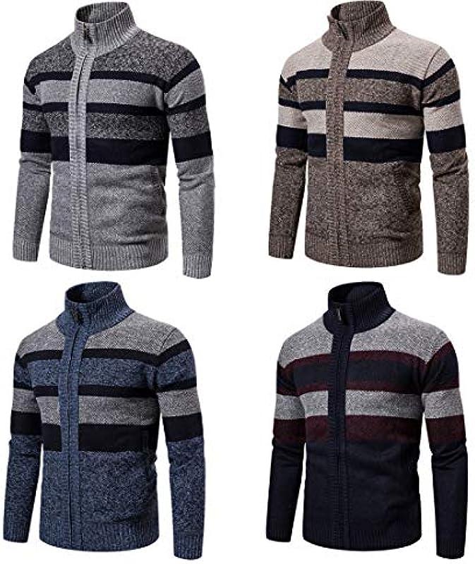 Męskie Pullover Stehkragen Herbst Winter Warm Strickpullover Jacken Cardigan Mäntel Männliche Kleidung Gestreifte Strickwaren: Odzież