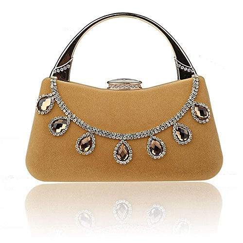 TOPCHANCES Luxury Aluminum Sequins Trihedral Designer Clutch Evening Handbag Mini Tote Bags (Apricot) (Frame Clutch Elegant)
