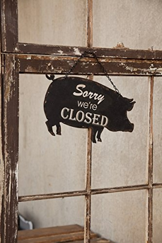 Vintage Metal Animal Shaped Open and Closed Two Sided Tin Business Door Sign (Black Pig)