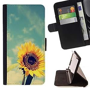 King Art - Premium-PU-Leder-Prima caja de la PU billetera de cuero con ranuras para tarjetas, efectivo Compartimiento desmontable y correa para la mu?eca FOR HTC One M9- Sunflower Sun flower